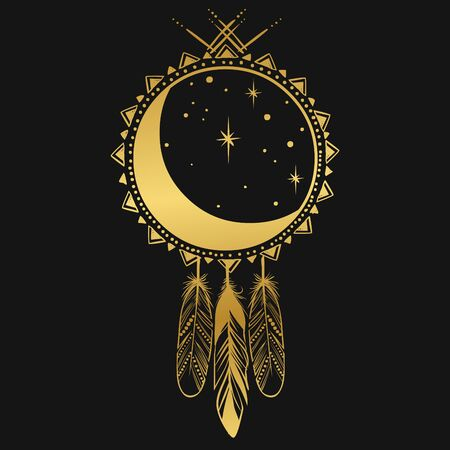 Dreamcatcher with moon. Vector design element in bohemian style