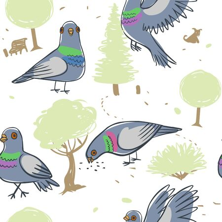 Pigeons in a city park. Vector seamless background Stockfoto - 131823199