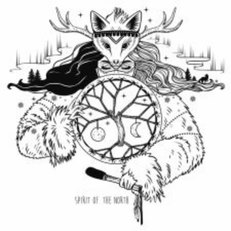 Spirit of Arctic lands. Inuit shaman woman with drum. Vector hand drawn illustration on white background.