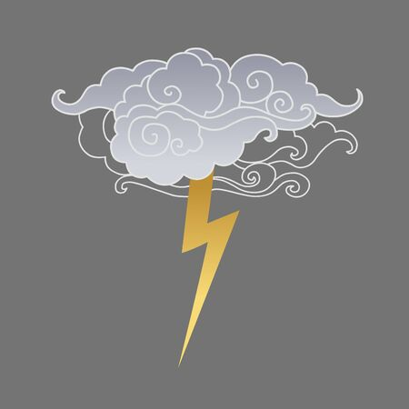 Clouds and lightning on gray background. Vector hand drawn illustration  イラスト・ベクター素材