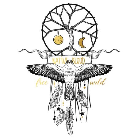 Sacred tree and hawk. Vector hand drawn illustration on white background. T-shirt print, tattoo sketch, card design etc.