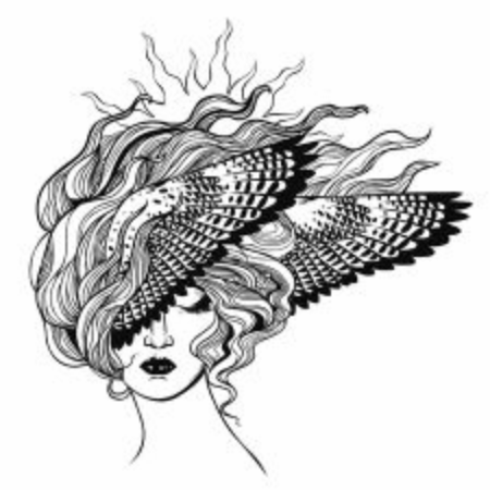 Beautiful woman with bird wings in her flowing hair. Vector hand drawn illustration on white background