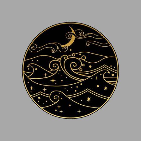 Night ocean with luminous plankton. Vector hand drawn illustration in oriental style