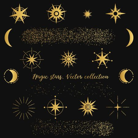Magic golden stars on black background. Vector collection