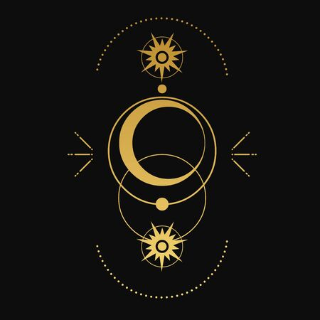 Sacred geometry. Moon, stars, orbits. Vector illustration on black background