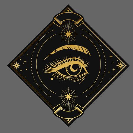 Seeing eye. Vector illustration in dark boho style
