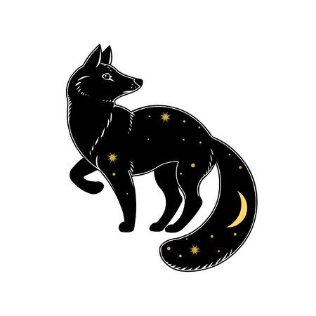 Black fox with stars isolated on white background. Vector illustration Ilustração