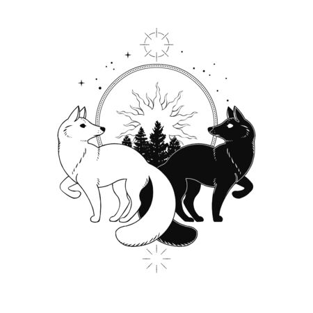 White fox & black fox. Vector hand drawn illustration