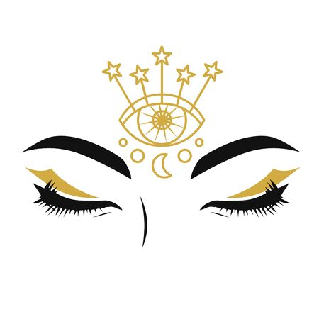 Beautiful eyes with make up in boho style. Vector hand drawn illustration