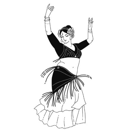 Bailarina tribal en movimiento. Vector dibujado a mano ilustración en blanco y negro