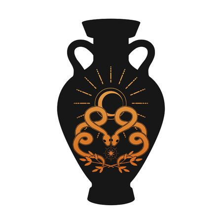 Black painted greek amphora. Vector illustration on white background Stok Fotoğraf - 131713832