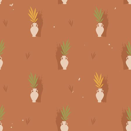 Vector seamless pattern with vase and leaves. Stockfoto - 136735543
