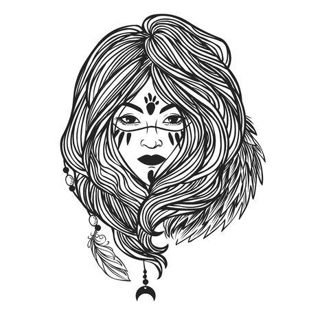 Tribal woman. Vector hand drawn illustration