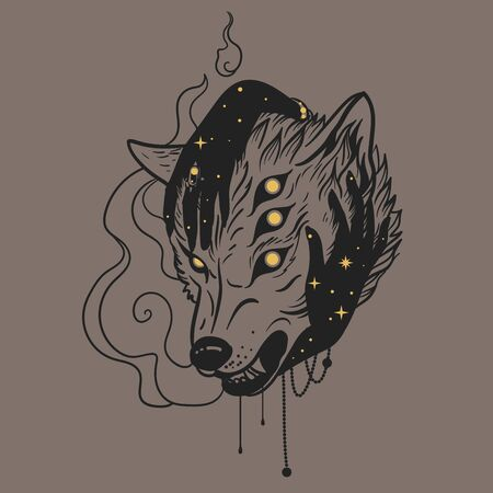 Female hands hug an evil wolf. Vector hand drawn illustration