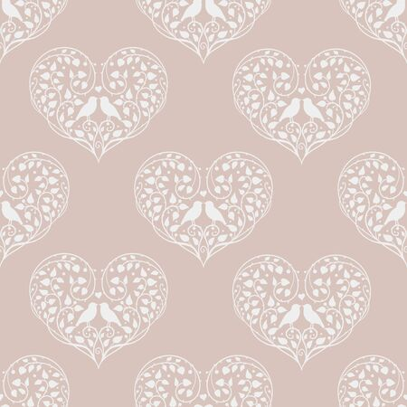 Vector seamless pattern in beige tones with birds and hearts
