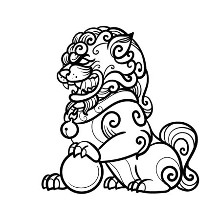 Traditional buddhist guardian lion. Vector hand drawn illustration