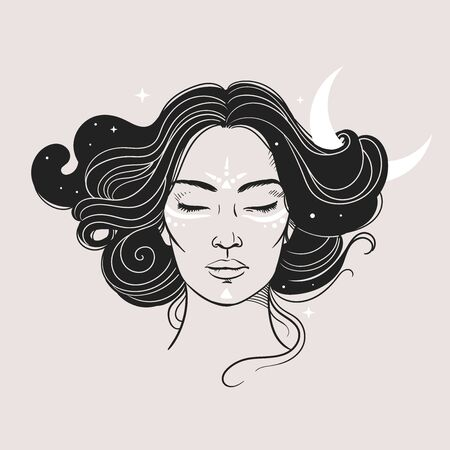 Mysterious woman with Moon and stars. Vector illustration Vecteurs