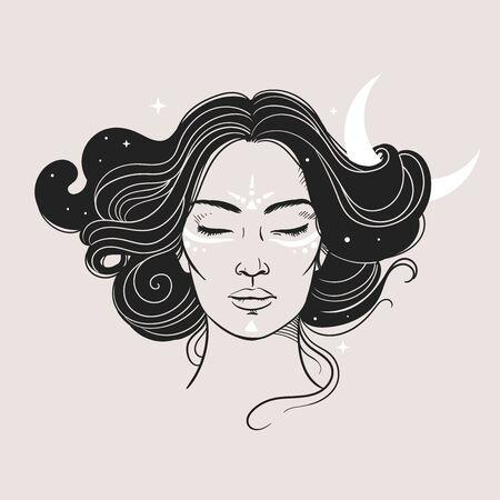 Mysterious woman with Moon and stars. Vector illustration Vektoros illusztráció