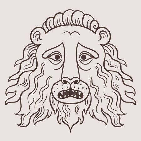 Medieval style lion head. Vector hand drawn illustration