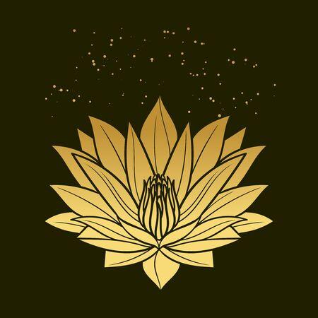 Golden lotus on black background. Vector hand drawn illustration Vecteurs