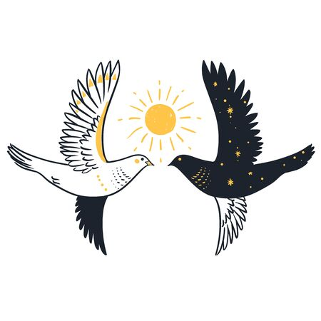 Two pigeons and Sun. Vector han drawn illustration