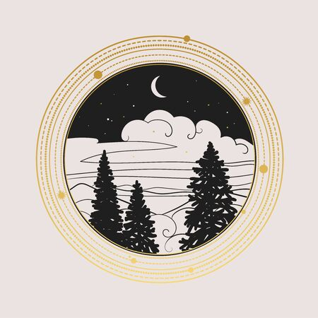 Night landscape with coniferous trees. Vector illustration Çizim
