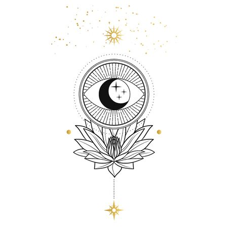 Symbol of eye with moon and stars inside. Hand drawn vector illustration