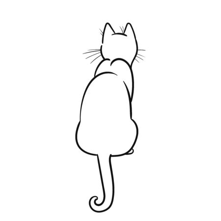 Sitting cat. Vector hand drawn illustration on white background