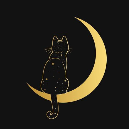 Cat sitting on the crescent moon. Vector illustration Illustration
