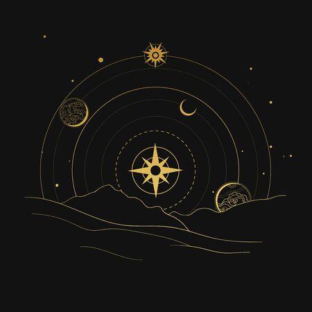 Paisaje espacial. Dibujado a mano ilustración vectorial Ilustración de vector