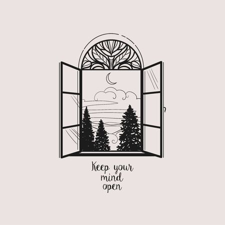Landscape with fir trees in an open window. Vector hand drawn illustration