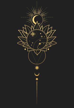 Abstract composition with lotus and stars. Vector illustration