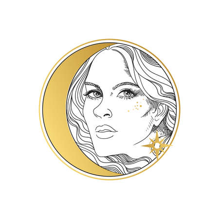 Beautiful young woman and Moon. Vector illustration on white background