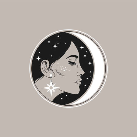 Beautiful young woman and crescent moon. Vector illustration