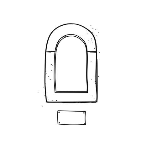 Window for serving drinks. Vector black & white sketch
