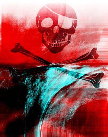 crane pirate: Un design novateur avec pirate cr�ne  Banque d'images