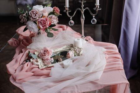 Women's accessories bride. Handbag, shoes, rings, bridal perfume close up