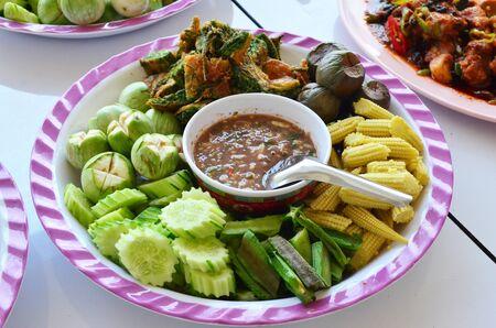 scald: shrimp paste sauce with scald vegetables, Thai food