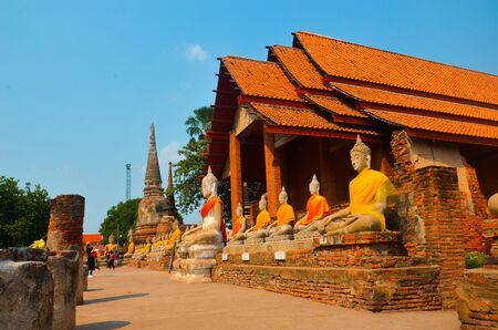 clearly: Wat Yai Chaimongkol on clearly blue sky, Ayutthaya, Thailand