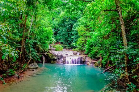erawan: Erawan national park, Kanchanaburi, Erawan waterfall Stock Photo