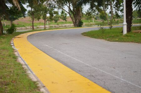 bike lane: bike lane in the public park, Samutsakorn, Thailand. Stock Photo