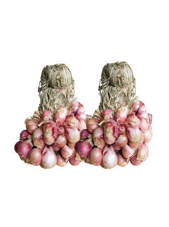 onion red: el manojo de cebolla roja sobre fondo blanco Foto de archivo