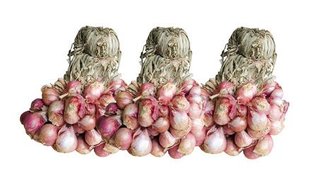 shallot: bunch of Shallot onions or red onion on white background