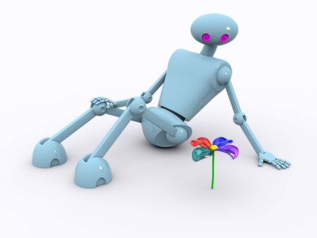 a robot sits and looks at a flower, all a bit shines photo