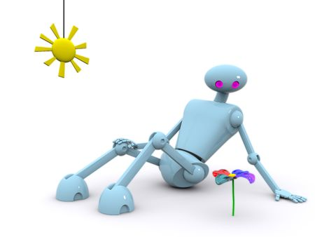 a robot sits and looks at a flower, all a bit shines Stock Photo - 4643788