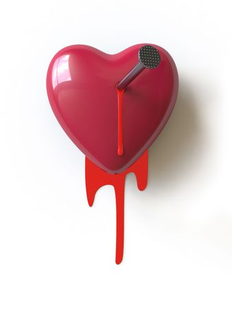 broken relationship:   a bloody heart symbolizes unhappy love