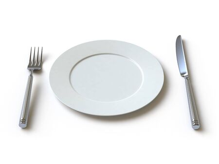 empty dish, fork and knife