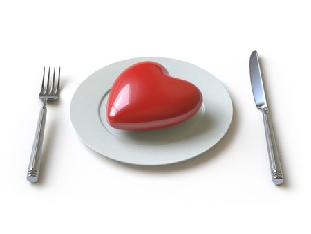 a heart lies on a dish, he can be eaten. Stock Photo - 4801493