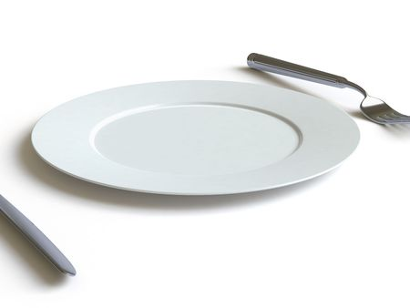 empty dish, fork and knife Stock Photo - 4801494