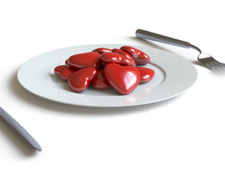 eaten: a heart lies on a dish, he can be eaten.